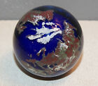 LUNDBERG STUDIOS 1994 SIGNED ART GLASS EARTH GLOBE WORLD BLUE PAPERWEIGHT