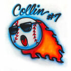 Airbrushed flaming baseball T shirt personalized with any name any spelling