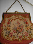 Vintage Needlepoint Petitpoint Purse Handbag Gold Metal Frame Chain Handle