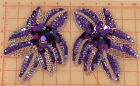 2 beaded sequins appliques brighter purple flowers silver accent 675