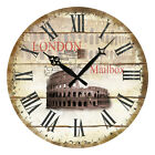 Retro Vintage Design Chic Clocks Home Decor Wall Clock Wooden London Mailbox