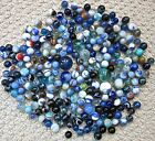 250pc lot MACHINE MADE MARBLES swirl BLUE agate BLACK vintage SHOOTER glass CLAY