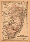 RARE Antique NEW JERSEY Map 1896 RARE MINIATURE Map of New Jersey State Map 3692