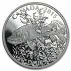 2015 Canada Silver SPORTFISH NORTHERN PIKE 1oz 20 Proof Coin With Box