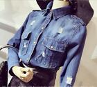 Womens Girls Vintage Denim Ripped Jeans Shirts Slim Button Blouse Tops Coats F