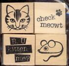 RECOLLECTIONS small rubber stamp set CAT  MOUSE INCHIES wood mounted