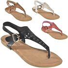 Womens Cutout T Strap Thongs Slingback Strappy Roman Gladiator Flat Sandals