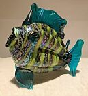 Rick Hunter Signed Hand Blown Glass Teal Fish with Lime Stripes 65 x 725 inch