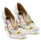 Qupid White Floral Mary Jane Pumps Round toe Kitten Heel Womens shoes Teaser 08