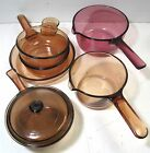 Vision Corning Ware Pyrex Amber Cranberry Glass Sauce Fry Pans Skillet Grab-It