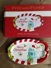 Fitz & Floyd hoot Santa a sentiment oval Christmas tree plate with box