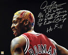 Dennis Rodman Autographed Smiling Chicago Bulls 16x20 Stat Photo ASI Proof