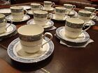 NORITAKE 9721 RANDOLPH BONE CHINA - SET OF 11 TEA CUP & 14 SAUCER - JAPAN