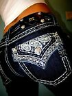 New Womens Denim Jeans Miss Me Bootcut Mid Rise Size 30 Long
