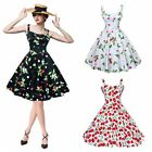 Hepburn 50s 60s Housewife Pinup Vintage Rockabilly Cherry Style Swing Dress US