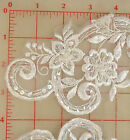 4 beautiful beaded sequins white applique pairs embroidered flower design 11x3