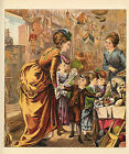 VICTORIAN LADY CHILDREN SHOPPING AT TOY STORE ANTIQUE TOYS PRINT 1879