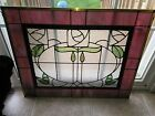 Beautiful Large Wide Stained Glass Window Panel Witter Textured Clear Green Pink