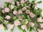 100 Small Satin Ribbon Rose Flower Applique trim bow Green leaf F32 Light Pink