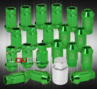 FOR CHEVY M12x125 LOCKING LUG NUTS OPEN END ALUMINUM 20PIECE SET GREEN