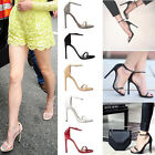 Ladies High Heel Pointed Peep Toe Stiletto Sandals Ankle Strap Court Shoes Heels