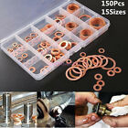 150pc Assorted Solid Copper Crush Washers Seal Flat Ring Set Hydraulic Fittinggs