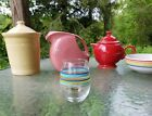 FIESTA glassware 15 oz STEMLESS WINE GOBLET glass STRIPED turquoise poppy lapis