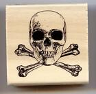 CRAFT SMART rubber stamp SCULL  BONES wood mounted Halloween