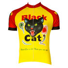 Retro Image Mens Black Cat Short Sleeve Cycling Jersey