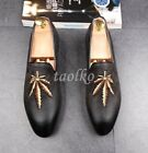 Summer Slip On Fashion Mens Wedding Shoes Loafers Pointed Toe Embroidery Shoes