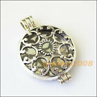 1 New Round Flower Picture Frame Tibetan Silver Tone Charms Pendants 33x46mm