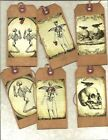 12 PRIMITIVE TAGS~Halloween Skeletons!~HANG TAGS~folk~Grungy