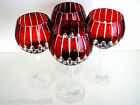 AJKA CASTILLE RUBY RED CASED CUT TO CLEAR CRYSTAL BALLOON WINE GOBLETS Set of 4