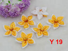 5cm 2 DIY Satin Ribbon Flower with Crystal Appliques Bows Craft Yellow color
