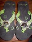 Montana West Flip Flops Lime Flower Concho Size 7 crystals