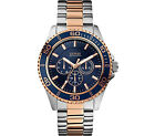 GUESS MEN'S MULTI FUNCTION 2 TONE STAINLESS  WATCH, W0172G3  NEW. GIFT, HOT!