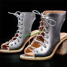 Hot Womens High Block Heels Shoes Leather Roman Shiny Lace Up Gladiator Sandals