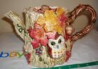 Fitz & Floyd Autumn Woods Owl Teapot  1994 Acorns Oak Tree Leaves Grapes-Rare!
