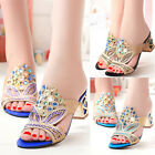 New Hot Rhinestone Heels Shoes Thong Sandals Women's Flip Flops Beach Slippers