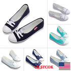 US Womens Ladies Lace Up Canvas Casual Flat Shallow Slip On Shoes Loafer Summer