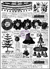 New Prima Marketing SWEET PEPPERMINT Newspaper Print Clear Background Stamp