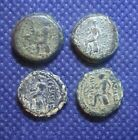 LOT OF 4 UNIDENTIFIED SHARP DETAILS ANCIENT GREEK BRONZE COINS SELEUKID SEATED