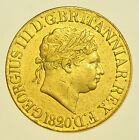 SCARCE 1820 SOVEREIGN, CLOSED 2, BRITISH GOLD COIN FROM GEORGE III GVF