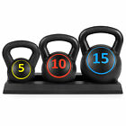 3 Piece Fitness HDPE Kettlebell Weights Set w Base Rack Black