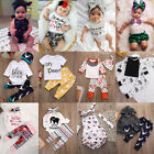Toddler Newborn Baby Boy Girls Romper T shirt Tops+Pants Outfits Set Clothes lot