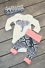 US Stock Newborn Baby Boy Girl Outfits Clothes Elephant Romper Pants 3pcs Set