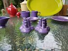 CANDLESTICK HOLDER SET lilac PYRAMID FIESTA NEW