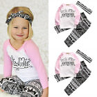 Adorable Baby Kids Girls Clothes T shirt Pants Headband Outfits Clothes Set 3PCS