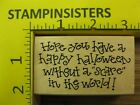 Rubber Stamp Without A Scare Halloween Saying Penny Black Stampinsisters 142