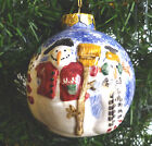 Snowman Christmas Ornament ~ Debbie Mumm ~ Round Earthenware Hand Painted